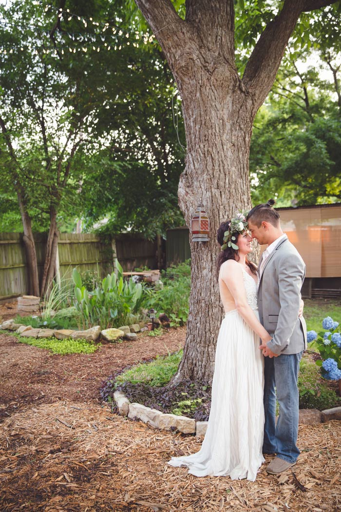 Backyard wedding portrait