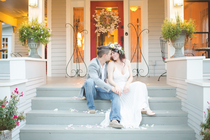 bride and groom portrait on front steps
