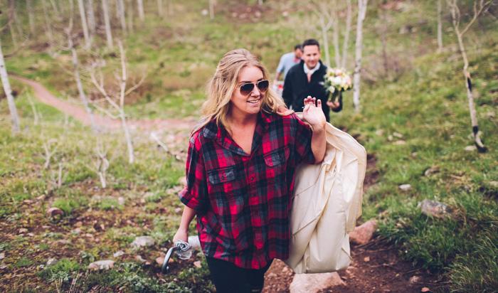 bride climbing hill