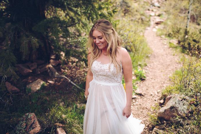 bride walking up path