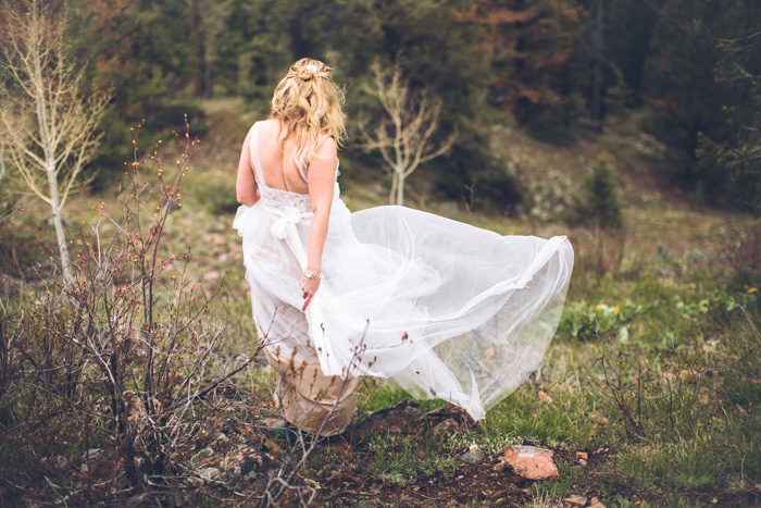 bride in Colorado woods