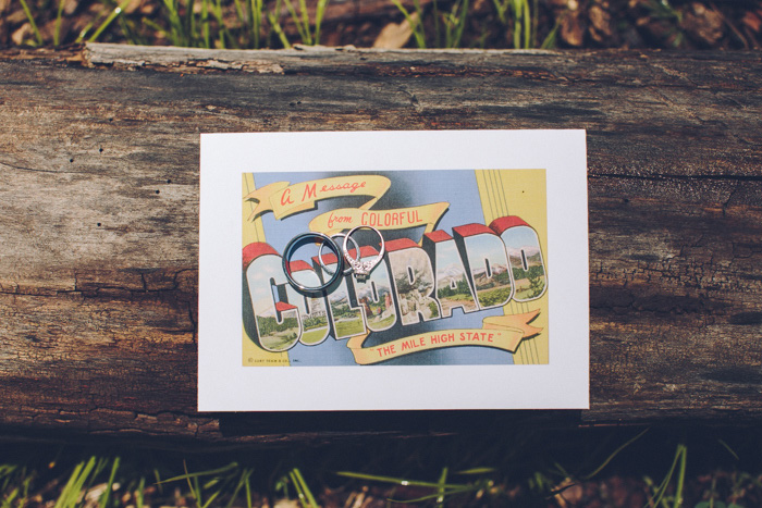 wedding rings on Colorado postcard