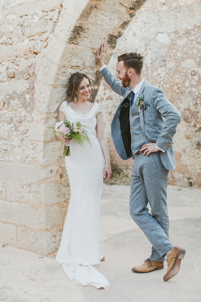 bride and groom portrait in Crete