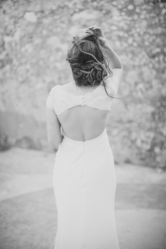 black and white portrait of bride's back