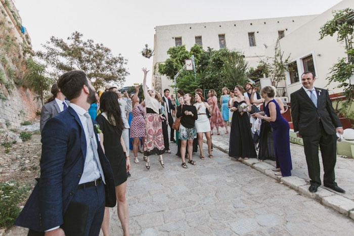 bouquet toss in Crete street