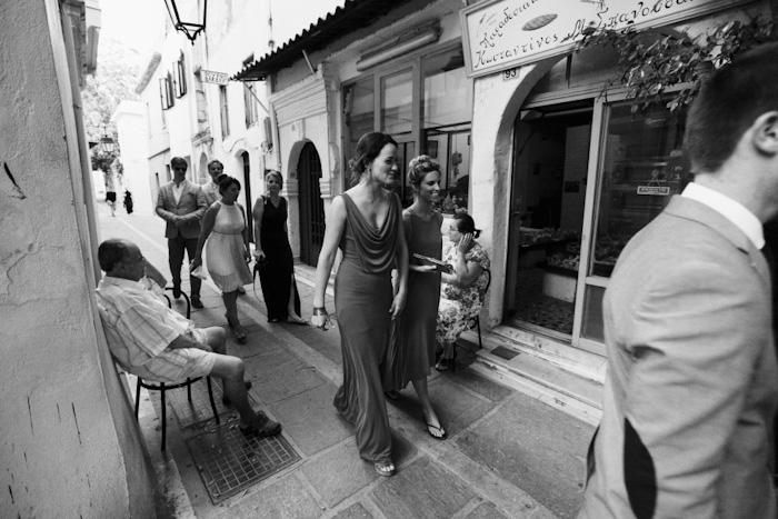 bridesmaids walking to reception