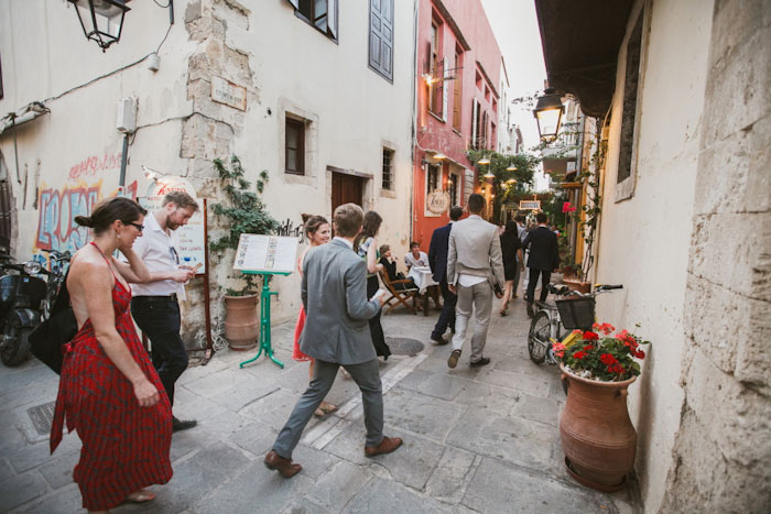 wedding guest procession through Crete streets