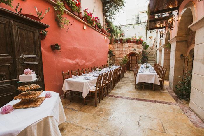 outdoor crete wedding reception set-up