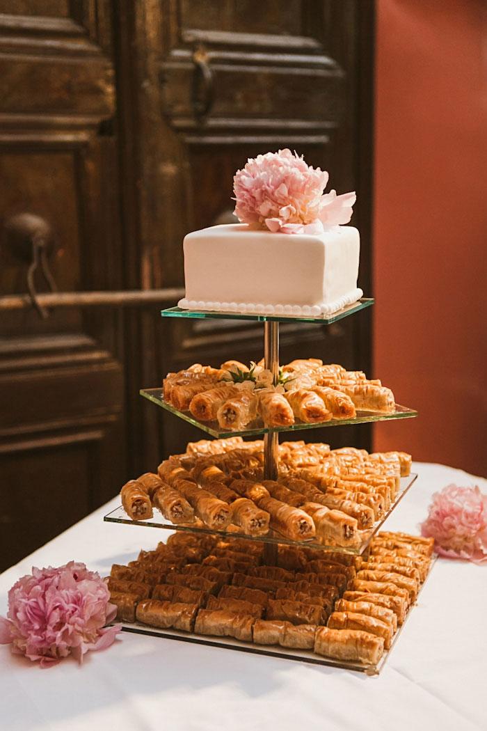 peony topped wedding cake