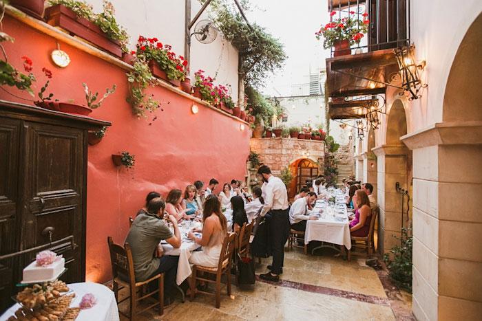 outdoor Crete wedding reception