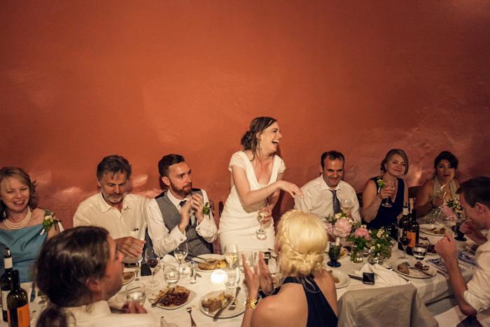 bride giving speech at reception