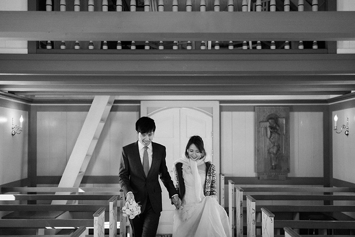 bride and groom entering chapel