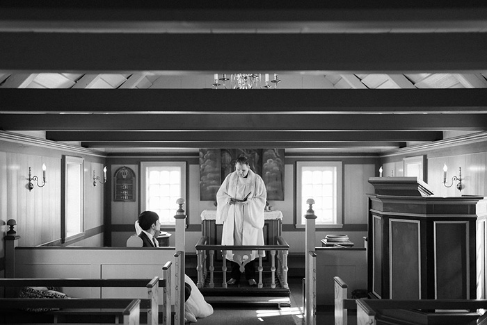 bride and groom in Iceland chapel