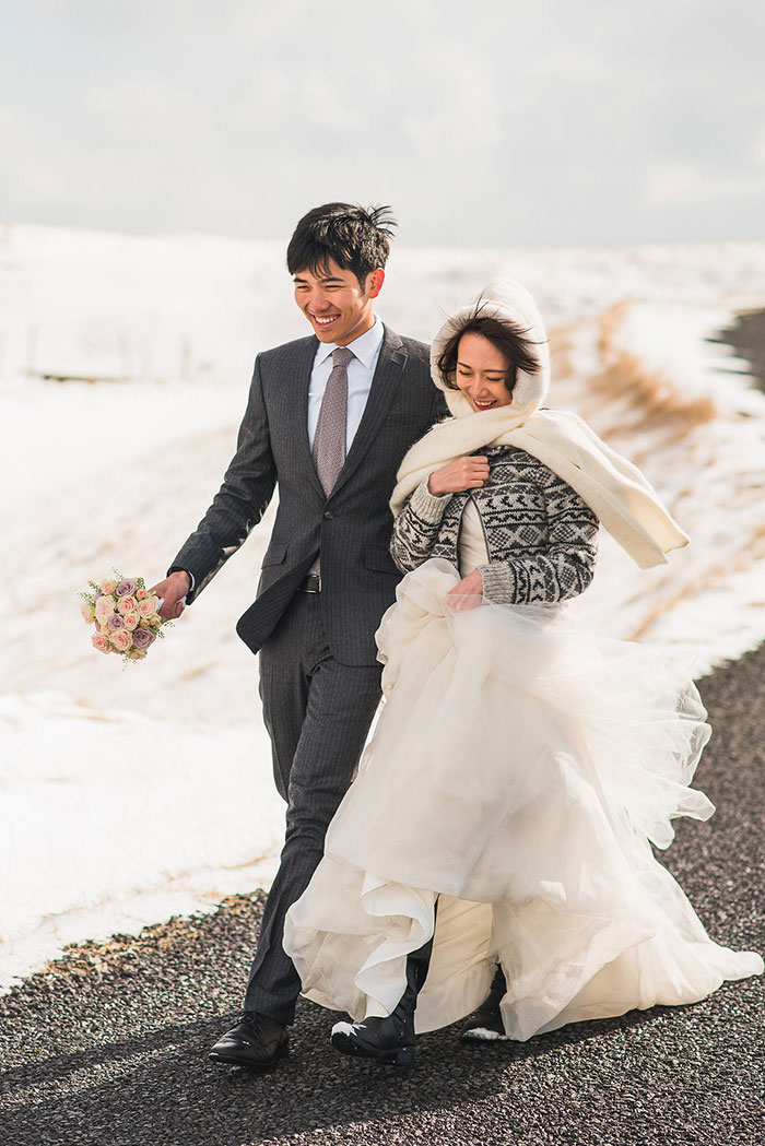 bride and groom leaving chapel