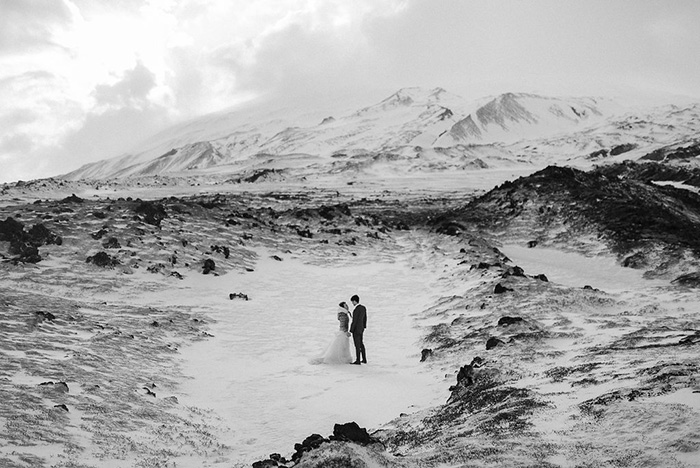 bride and groom portrait in Iceland