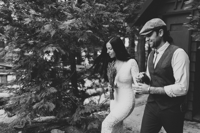 bride and groom walking to elopement ceremony
