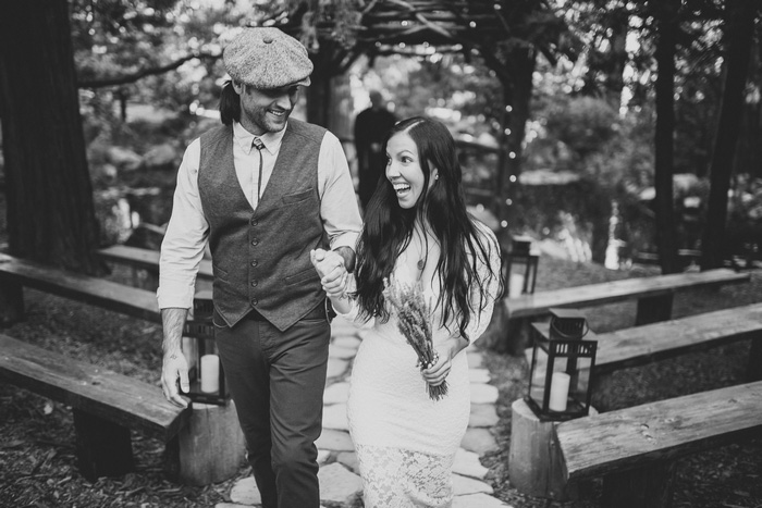bride and groom leaving elopement ceremony