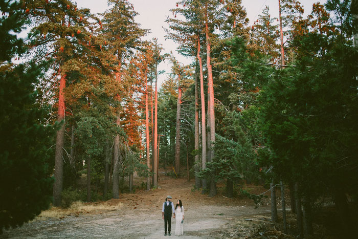 bride portrait on the wooded moutainside