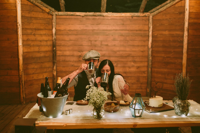 bride and groom at elopement reception