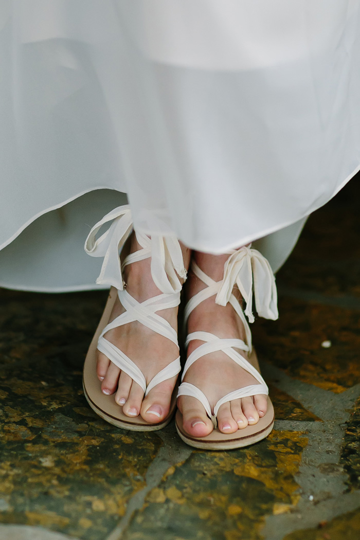 bride's fabric sandals
