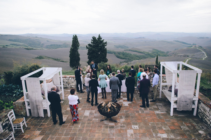 outdoor Tuscan wedding ceremony