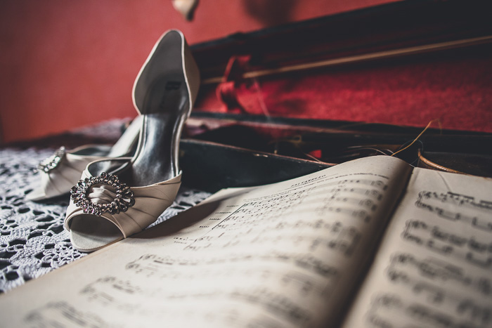 wedding shoes on sheetmusic