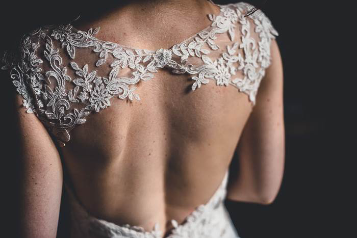 close-up of bride's back