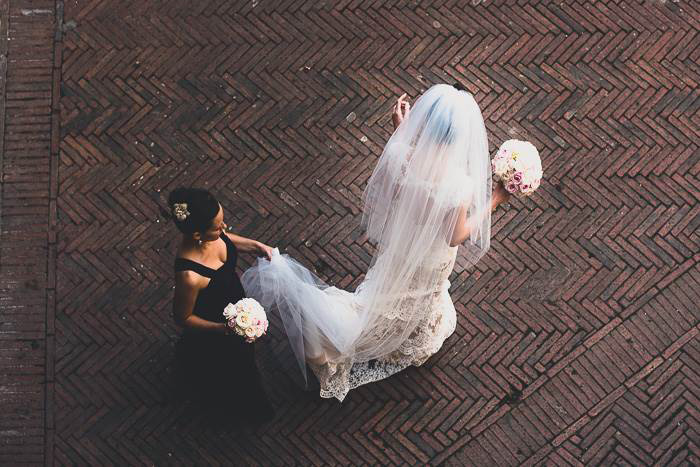aerial shot of bride and bridesmaid