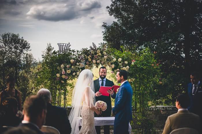 outdoor Tuscan wedding ceremony