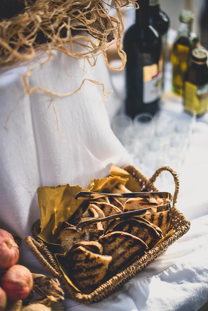 Tuscan wedding reception food