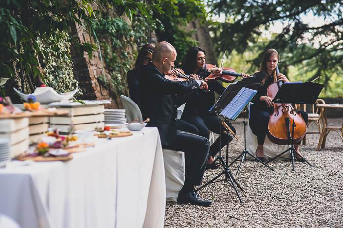 string quartet at tuscan wedding reception