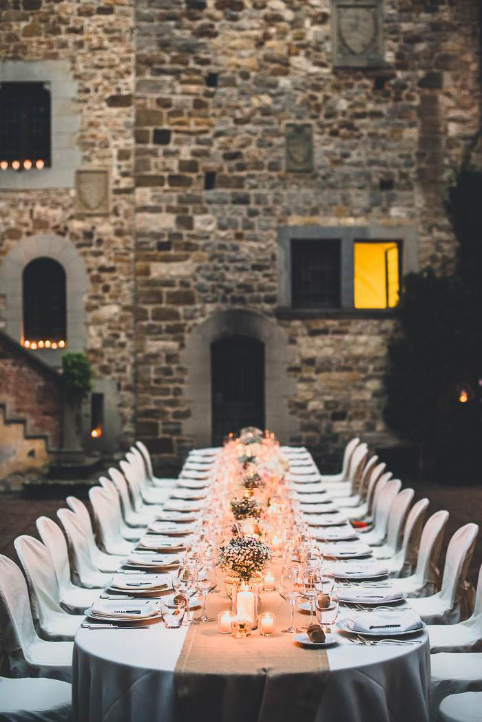 outdoor Tuscan wedding reception dinner