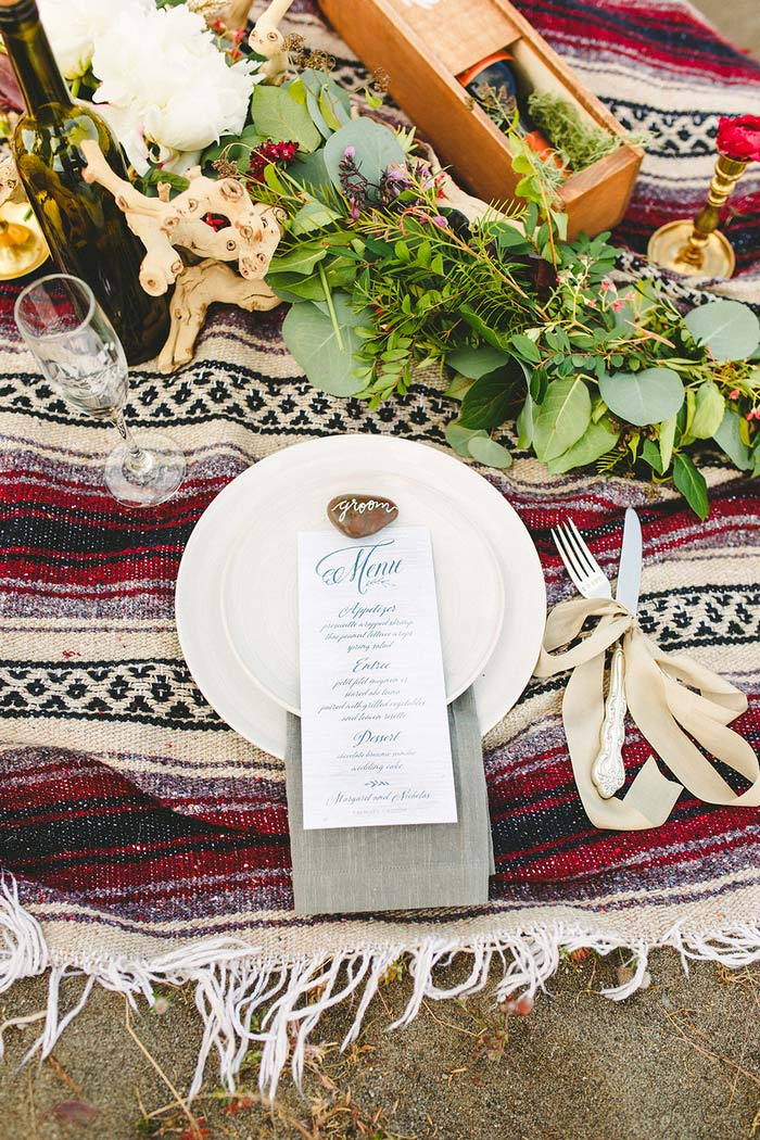 boho wedding picnic spread