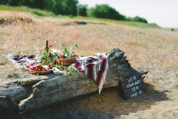 beach wedding picnic