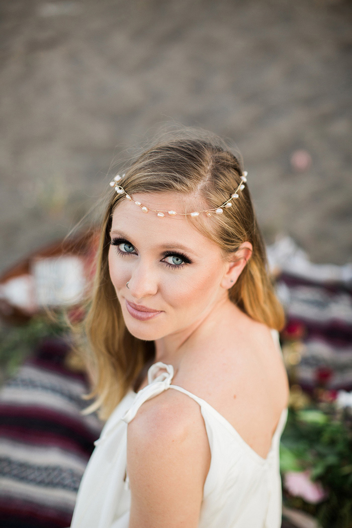 bride wearing beaded headband