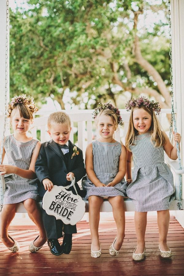 flower girl dress with stripes