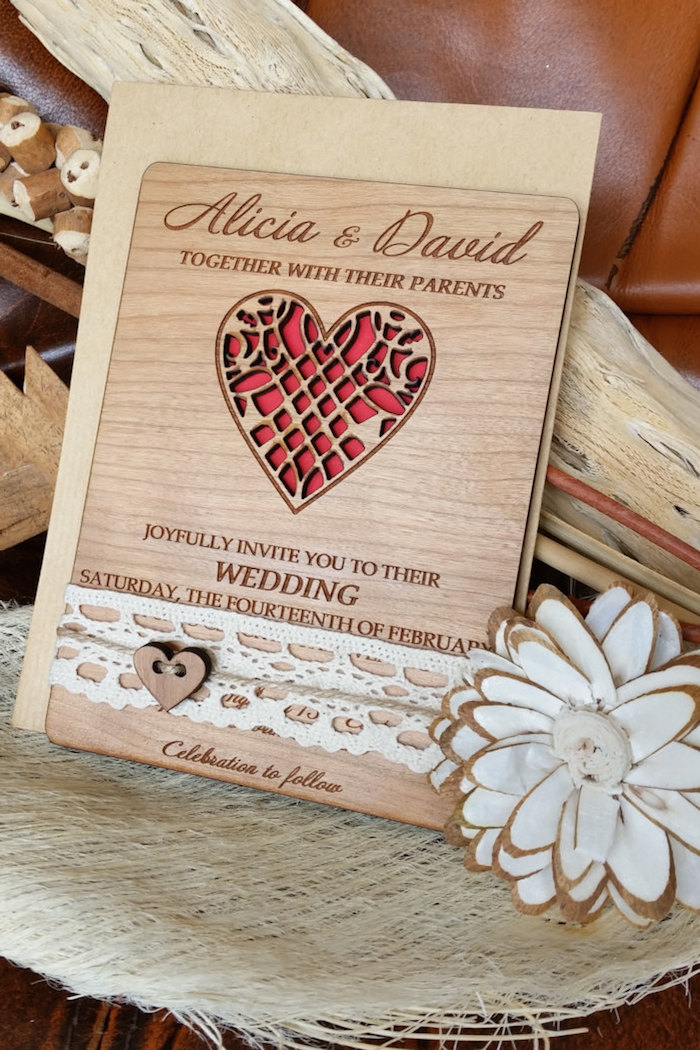 wooden invitation - Wood Wedding Invitations