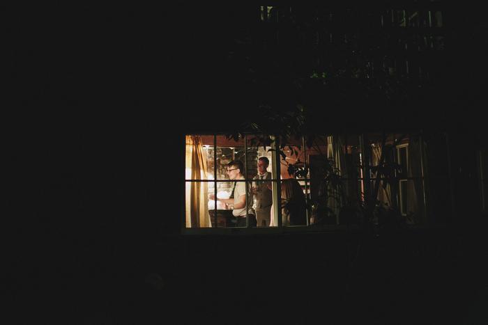 view inside lit up cottage