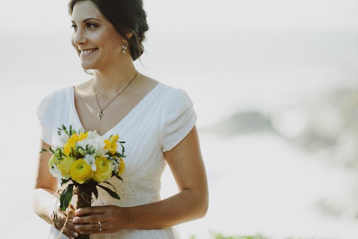 bride at outdoor wedding ceremony