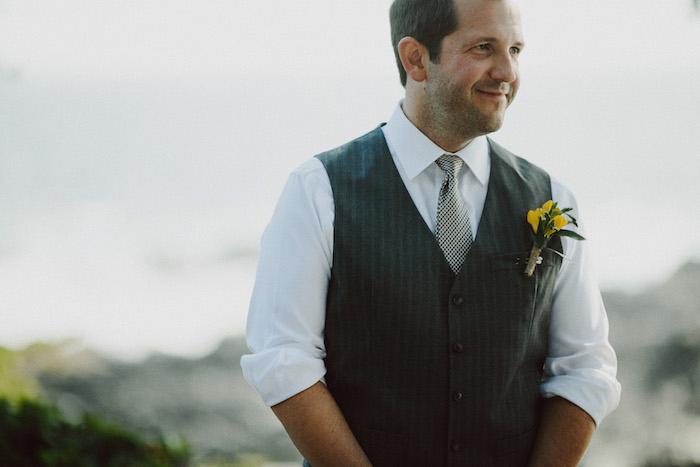 groom at outdoor wedding ceremony