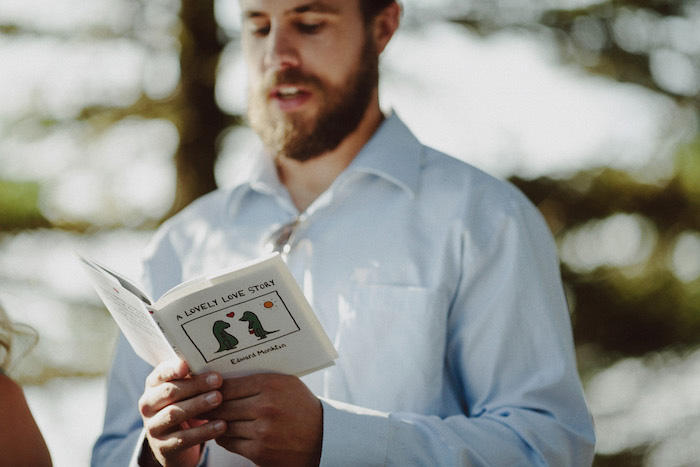 wedding guest doing reading