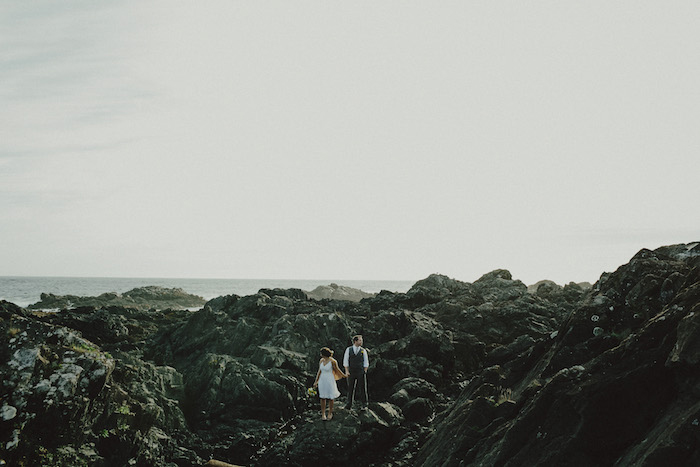 bride and groom portrait on the rocks
