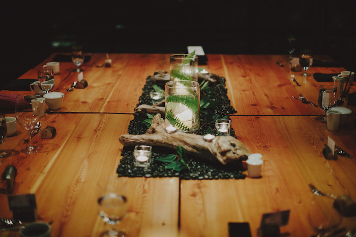 moss and driftwood centerpiece