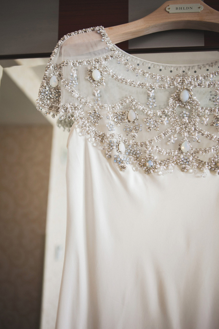 close-up of wedding dress beading