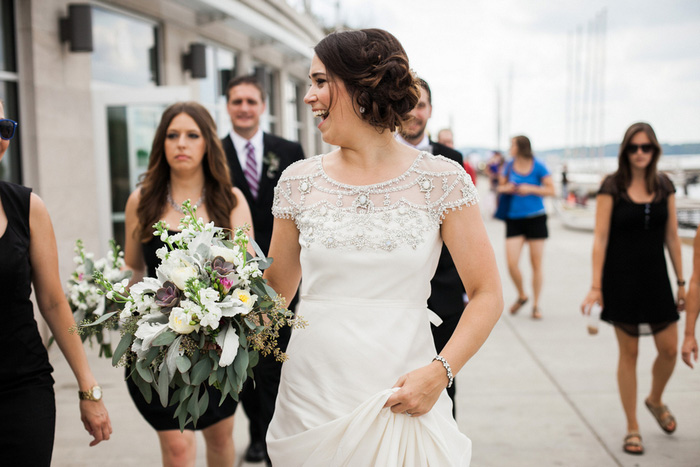 bride walking down the street