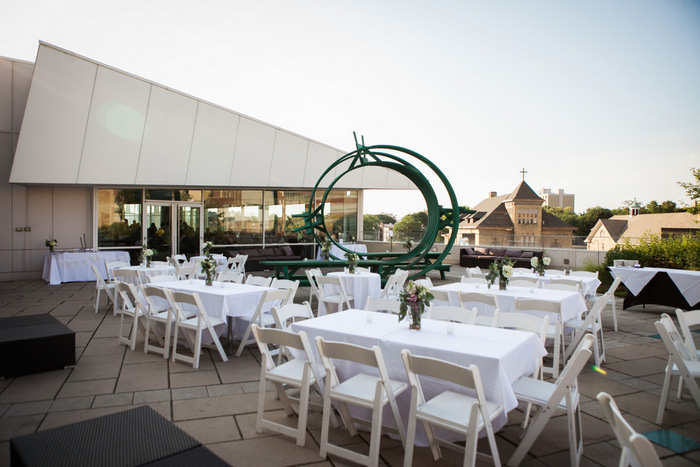museum rooftop wedding reception set-up