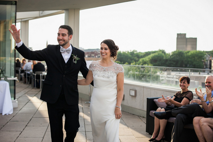 bride and groom making heir entrance at reception