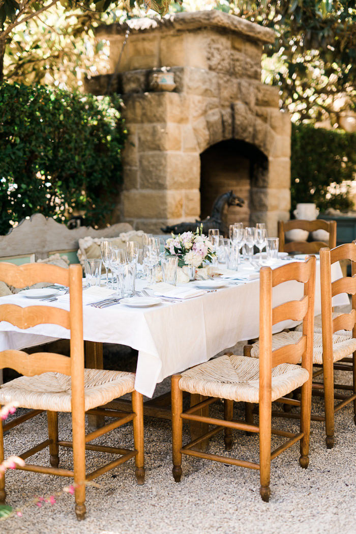 San Ysidro Ranch wedding reception set-up