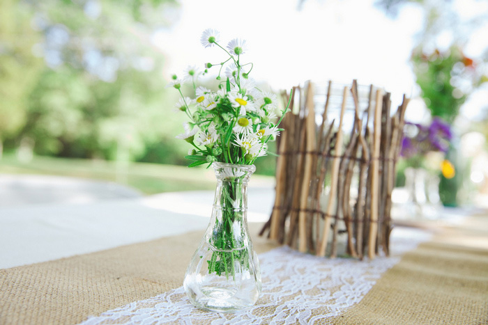 rustic backyard wedding centrepiece