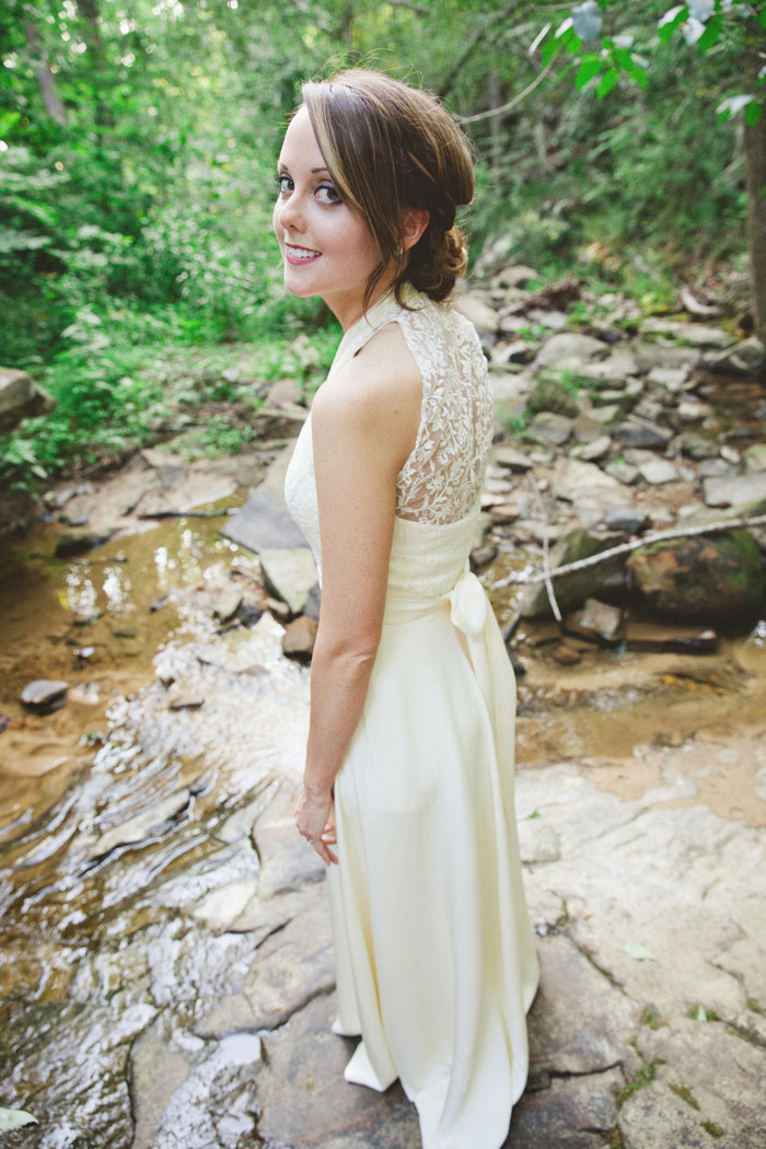 bride portrait in creek